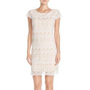 Eliza J White Lace Scalloped Sheath Dress